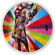 Colorful Kiss Round Beach Towel
