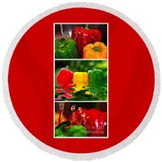 Colorful Kitchen Collage Round Beach Towel
