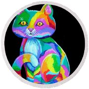 Colorful Kitten Round Beach Towel