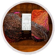 Colorful Knitting Yarn In A Wooden Box Round Beach Towel