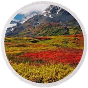 Colorful Land - Alaska Round Beach Towel