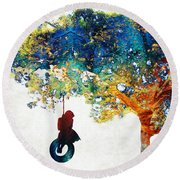 Colorful Landscape Art - The Dreaming Tree - By Sharon Cummings Round Beach Towel