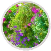 Colorful Large Hanging Flower Plants 3 Round Beach Towel