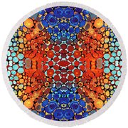 Colorful Layers Vertical - Abstract Art By Sharon Cummings Round Beach Towel by Sharon Cummings