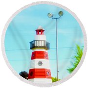 Colorful Lighthouse 2 Round Beach Towel