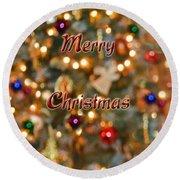 Colorful Lights Christmas Card Round Beach Towel
