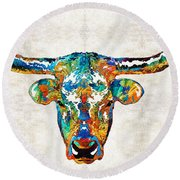 Colorful Longhorn Art By Sharon Cummings Round Beach Towel