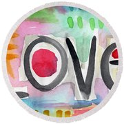 Colorful Love- Painting Round Beach Towel by Linda Woods