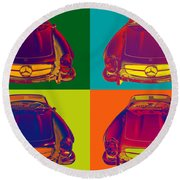 Colorful Mercedes Benz 300 Sl Convertible Popart Round Beach Towel
