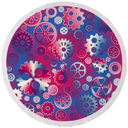 Colorful Metallic Gears Round Beach Towel by Gaspar Avila