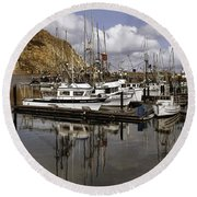 Colorful Morning Harbor Round Beach Towel