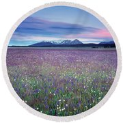 Colorful Mountain Spring Round Beach Towel