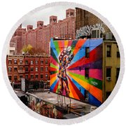Colorful Mural Chelsea New York City Round Beach Towel