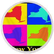 Colorful New York State Pop Art Map Round Beach Towel