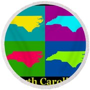 Colorful North Carolina Pop Art Map Round Beach Towel