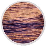 Colorful Ocean Water At Sunset Round Beach Towel