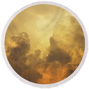 Colorful Orange Yellow Storm Clouds At Sunset  Round Beach Towel