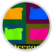 Colorful Oregon Pop Art Map Round Beach Towel