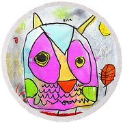 colorful Owl Round Beach Towel