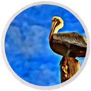 Colorful Pelican Round Beach Towel
