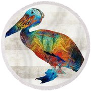 Colorful Pelican Art By Sharon Cummings Round Beach Towel