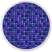 Colorful Polka Dots On Blue Fabric Background Round Beach Towel