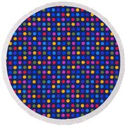 Colorful Polka Dots On Dark Blue Fabric Background Round Beach Towel