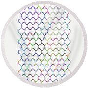 Colorful Quatrefoil Round Beach Towel