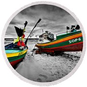 Colorful Retro Ship Boats On The Beach Round Beach Towel
