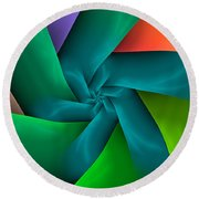 Colorful Ribbons Round Beach Towel