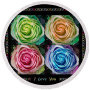 Colorful Rose Spirals With Love Round Beach Towel