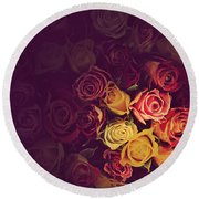 Colorful Roses Background Round Beach Towel