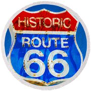 Colorful Route 66 Round Beach Towel