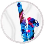 Colorful Saxophone 2 By Sharon Cummings Round Beach Towel