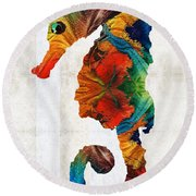 Colorful Seahorse Art By Sharon Cummings Round Beach Towel