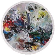 Colorful Seascape Abstract Landscape Round Beach Towel