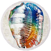 Colorful Seashell Art - Beach Trio - By Sharon Cummings Round Beach Towel