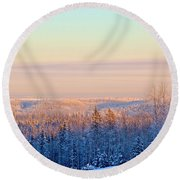 Colorful Snow Valley Round Beach Towel