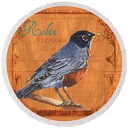 Colorful Songbirds 2 Round Beach Towel by Debbie DeWitt