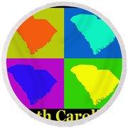 Colorful South Carolina Pop Art Map Round Beach Towel