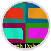 Colorful South Dakota Pop Art Map Round Beach Towel