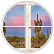 Colorful Southwest Desert Window Art View Round Beach Towel
