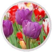 Colorful Spring Tulips Garden Art Prints Round Beach Towel