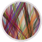 Colorful Straight Line Fractal Flame Round Beach Towel