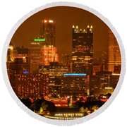 Colorful Summer Night In Pittsburgh Round Beach Towel