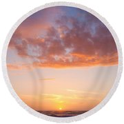 Colorful Sunset Cloudscape Over Beach And Ocean Round Beach Towel