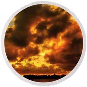 Colorful Sunset Round Beach Towel