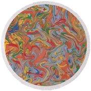 Colorful Swirls Drip Painting Round Beach Towel