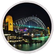 Colorful Sydney Harbour Bridge By Night 3 Round Beach Towel