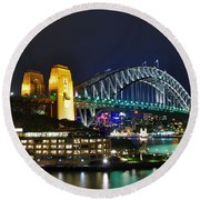 Colorful Sydney Harbour Bridge By Night Round Beach Towel